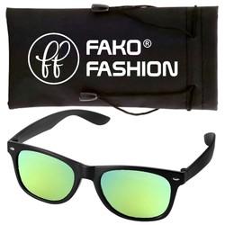 Fako Fashion® - Zonnebril - Wayfarer - Mat Zwart - Spiegel Goud