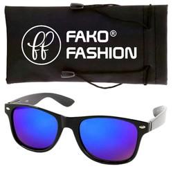 Fako Fashion® - Zonnebril - Wayfarer - Mat Zwart - Spiegel Blauw/Paars