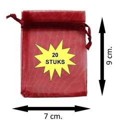 Fako Bijoux® - Organza Zakjes - 7x9cm - Bordeaux - 20 Stuks
