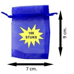 Fako Bijoux® - Organza Zakjes - 7x9cm - Royal Blauw - 100 Stuks