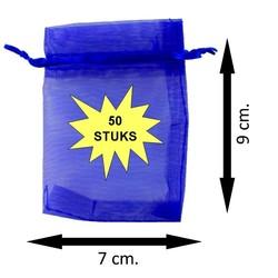 Fako Bijoux® - Organza Zakjes - 7x9cm - Royal Blauw - 50 Stuks