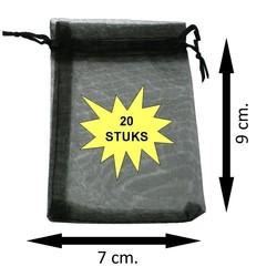 Fako Bijoux® - Organza Zakjes - 7x9cm - Zwart - 20 Stuks