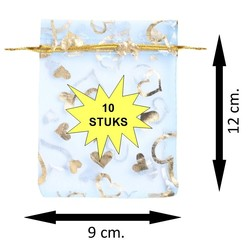 Fako Bijoux® - Organza Zakjes - 9x12cm - Hart Lichtblauw - 10 Stuks