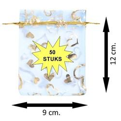 Fako Bijoux® - Organza Zakjes - 9x12cm - Hart Lichtblauw - 50 Stuks