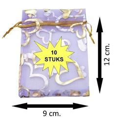 Fako Bijoux® - Organza Zakjes - 9x12cm - Hart Paars - 10 Stuks