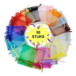 Fako Bijoux® - Organza Zakjes - 9x12cm - Mix - 50 Stuks