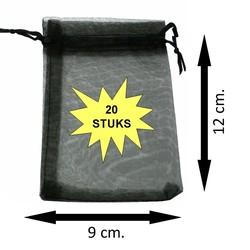 Fako Bijoux® - Organza Zakjes - 9x12cm - Zwart - 20 Stuks
