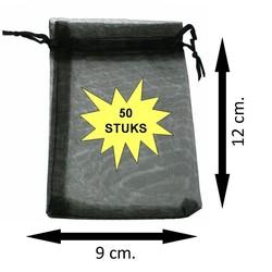 Fako Bijoux® - Organza Zakjes - 9x12cm - Zwart - 50 Stuks