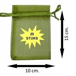 Fako Bijoux® - Organza Zakjes - 10x15cm -Olijfgroen - 20 Stuks