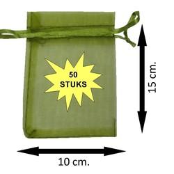 Fako Bijoux® - Organza Zakjes - 10x15cm - Olijfgroen - 50 Stuks