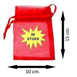 Fako Bijoux® - Organza Zakjes - 10x15cm - Rood - 50 Stuks
