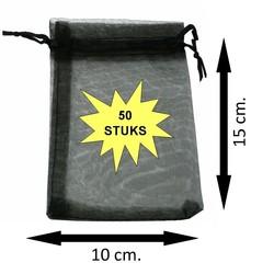 Fako Bijoux® - Organza Zakjes - 10x15cm - Zwart - 50 Stuks