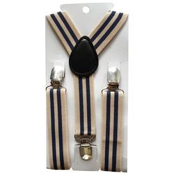 Fako Fashion® - Kinder Bretels - Print - Streep - 65cm - Beige/Navy Blauw