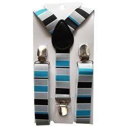 Fako Fashion® - Kinder Bretels - Print - Streep - 65cm - Grijs/Turquoise/Zwart