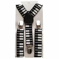Fako Fashion® - Kinder Bretels - Print - Piano - 65cm - Zwart/Wit
