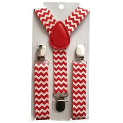 Fako Fashion® - Kinder Bretels - Print - Wacky - 65cm - Rood/Wit