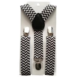 Fako Fashion® - Kinder Bretels - Print - Staafjes - 65cm - Zwart/Wit