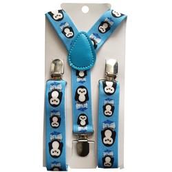 Fako Fashion® - Kinder Bretels - Print - Pinguïn - 65cm - Blauw