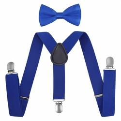 Fako Fashion® - Kinder Bretels Met Vlinderstrik - 65cm - Royal Blauw