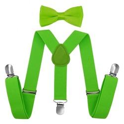 Fako Fashion® - Kinder Bretels Met Vlinderstrik - 65cm - Fluo Groen