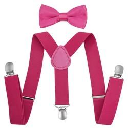 Fako Fashion® - Kinder Bretels Met Vlinderstrik - 65cm - Donkerroze