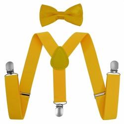 Fako Fashion® - Kinder Bretels Met Vlinderstrik - 65cm - Geel