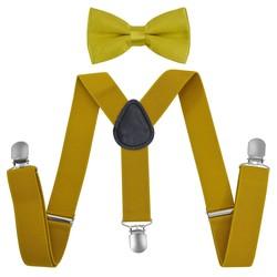 Fako Fashion® - Kinder Bretels Met Vlinderstrik - 65cm - Goudkleurig