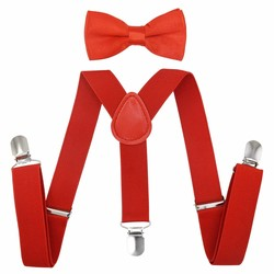 Fako Fashion® - Kinder Bretels Met Vlinderstrik - 65cm - Rood