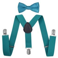 Fako Fashion® - Kinder Bretels Met Vlinderstrik - 65cm - Aqua