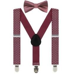 Fako Fashion® - Kinder Bretels Met Vlinderstrik - Stipjes - 65cm - Donkerrood