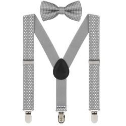 Fako Fashion® - Kinder Bretels Met Vlinderstrik - 65cm - Grijs Met Stipjes