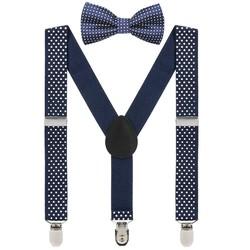 Fako Fashion® - Kinder Bretels Met Vlinderstrik - 65cm - Navy Blauw Met Stipjes