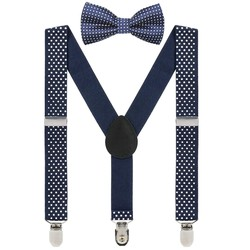 Fako Fashion® - Kinder Bretels Met Vlinderstrik - Stipjes - 65cm - Navy Blauw