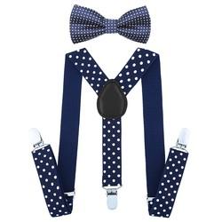 Fako Fashion® - Kinder Bretels Met Vlinderstrik - 65cm - Navy Blauw Met Stippen