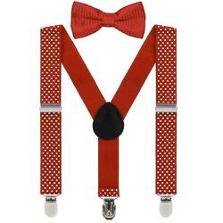 Fako Fashion® - Kinder Bretels Met Vlinderstrik - Stipjes - 65cm - Rood