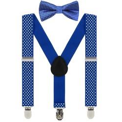 Fako Fashion® - Kinder Bretels Met Vlinderstrik - 65cm - Royal Blauw Met Stipjes