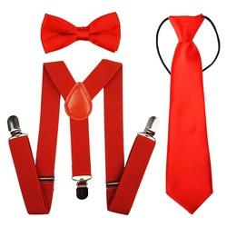 Fako Fashion® - Kinder Bretels, Vlinderstrik & Stropdas - Rood