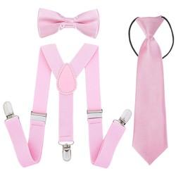 Fako Fashion® - Kinder Bretels, Vlinderstrik & Stropdas - Roze