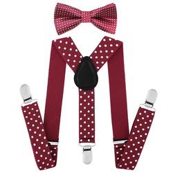 Fako Fashion® - Kinder Bretels Met Vlinderstrik - Stippen - 65cm - Bordeaux Rood