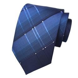 Fako Fashion® - Luxe Stropdas - 145cm - 8cm - Donkerblauw Fijne Streepjes