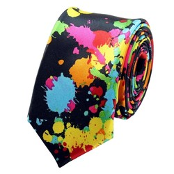 Fako Fashion® - Skinny Stropdas - Print - 145cm - Verfsspetters