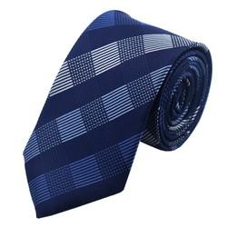 Fako Fashion® - Skinny Stropdas - DLX - 145cm - Donkerblauw Geruit