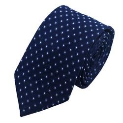 Fako Fashion® - Skinny Stropdas - DLX - 145cm - Donkerblauw Stippen