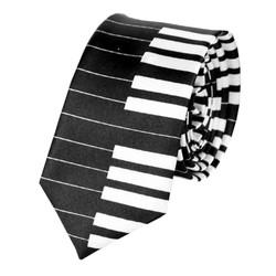 Fako Fashion® - Skinny Stropdas - Print - 145cm - Piano Zwart