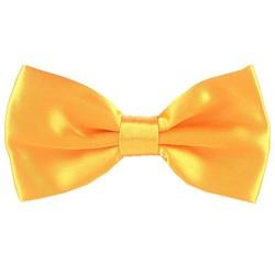 Fako Fashion® - Vlinderstrik - Vlinderdas - Satijn - 12.5cm - Goudgeel