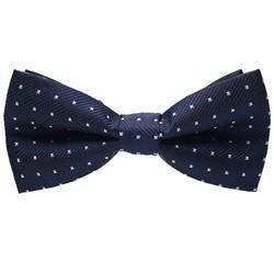 Fako Fashion® - Vlinderstrik - Vlinderdas - Deluxe - 12cm - Donkerblauw Met Kruisjes