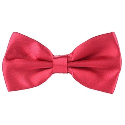 Fako Fashion® - Vlinderstrik - Vlinderdas - Glossy - 12.5cm - Donkerrood