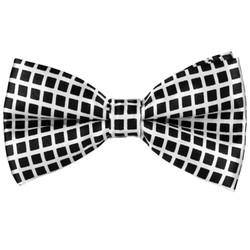 Fako Fashion® - Vlinderstrik - Vlinderdas - Print - 12cm - Wit/Zwarte Blokjes