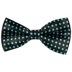 Fako Fashion® - Vlinderstrik - Vlinderdas - Print - 12cm - Zwart/Lichtblauwe Stippen