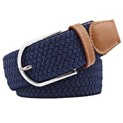 Fako Fashion® - Elastische Riem - Canvas - Gevlochten - 105cm - Blauw
